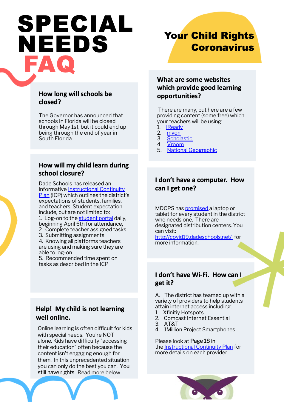 Special Needs FAQ Coronavirus