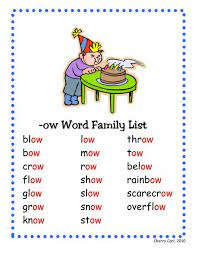 Ow word family list